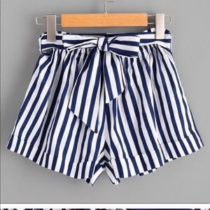 Pants - High Waisted Striped Shorts